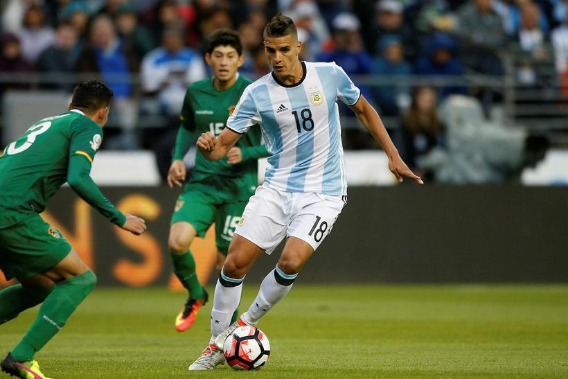 Erik Lamela í landsleik með Argentínu.