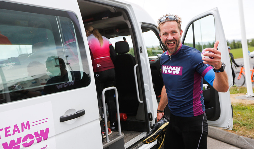 Skúli Mogensen took part in the WOW Cyclothon charity race ...