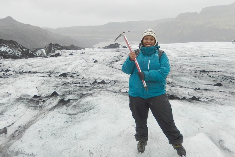 Willona braving the elements in icy Iceland.