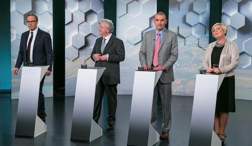 Presidential candidates on Rúv national TV last night. From left ...