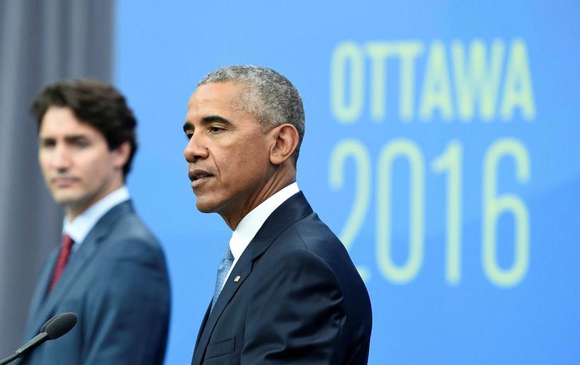Barack Obama ásamt Justin Trudeau, forsætisráðherra Kanada, á leiðtogafundinum í ...