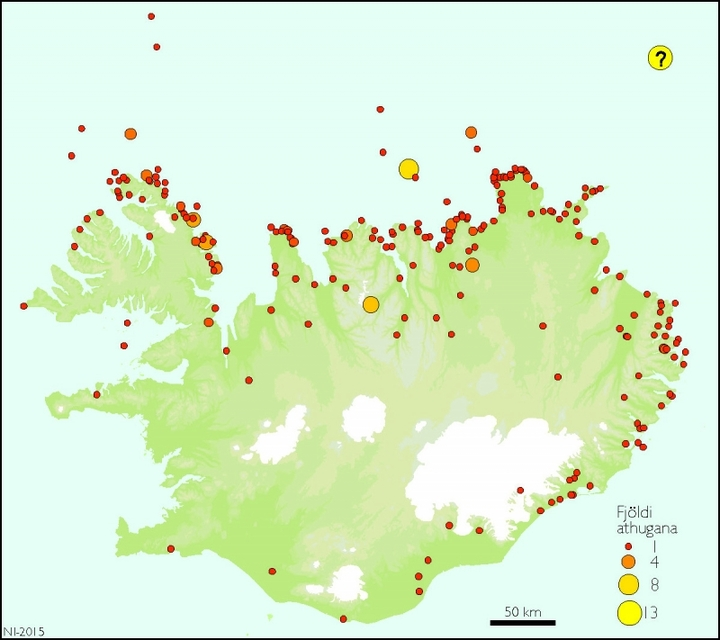 Official polar bear sightings in Iceland since settlement.