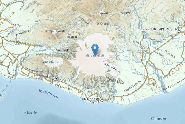 Katla is located under the Mýrdalsjökull glacier icecap in South ...