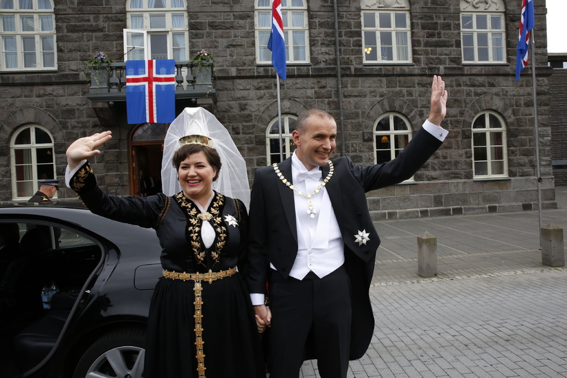 Guðni Th. Jóhannesson and Eliza Reid arrive at the Parliament ...