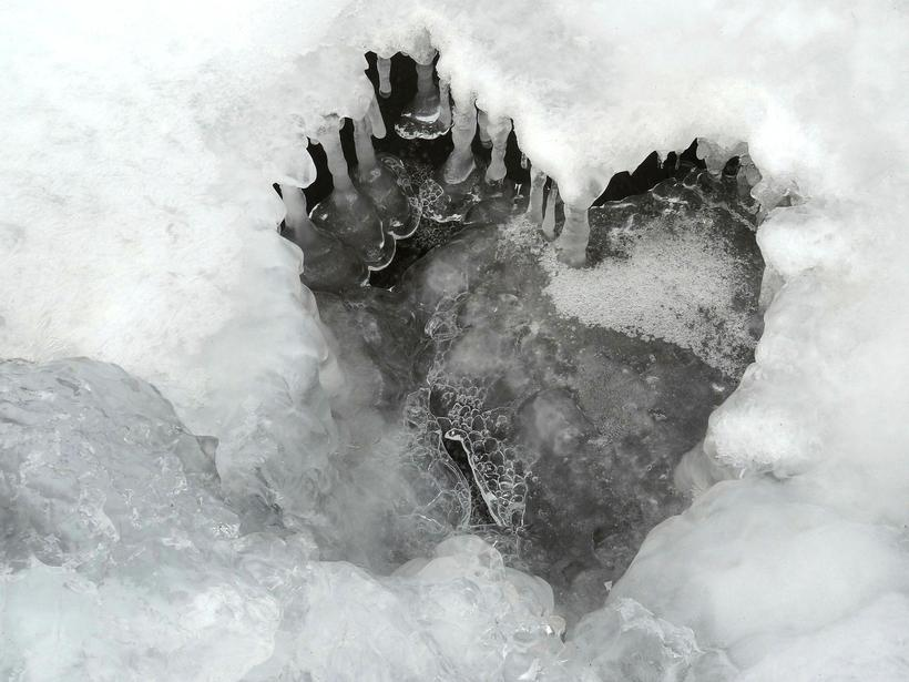 A heart formed from ice in Borgafjörður, West Iceland.