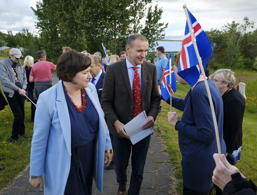 Eliza Reid and Guðni Th. Jóhanesson at Sólheimar today.