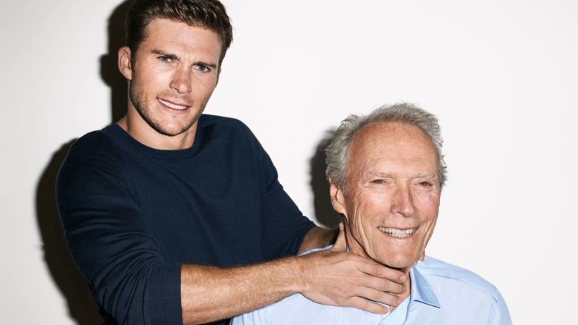 Feðgarnir Scott og Clint Eastwood.