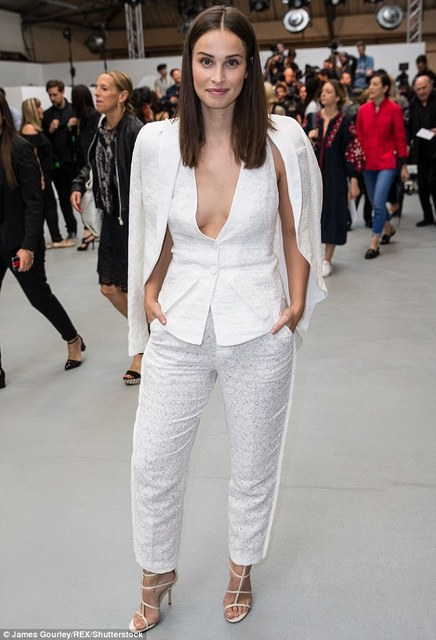 Heiða Rún wearing a white ensemble at Antonio Berardi