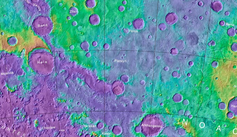 The crater Flateyri is on the south pole of Mars …