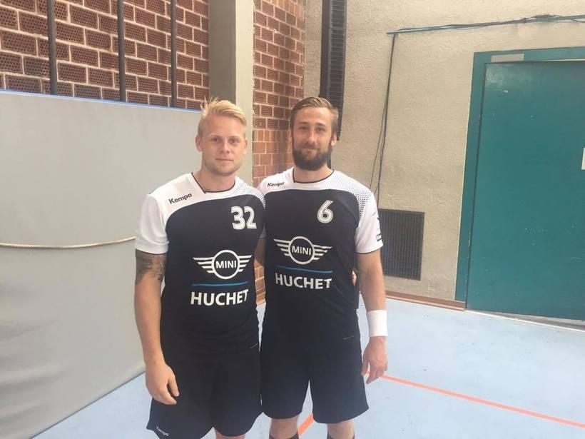 Frændurinir Geir Guðmundsson og Guðmundur Hólmar Helgason í æfingabúningi Cesson-Rennes.