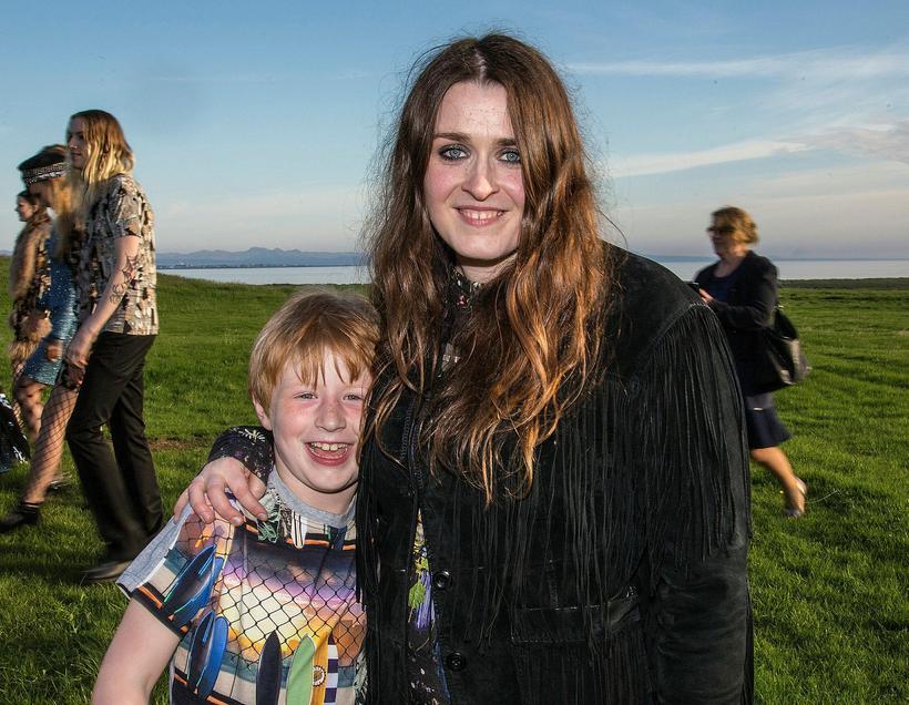 Designer Hildur Yeoman with her son, Högni.