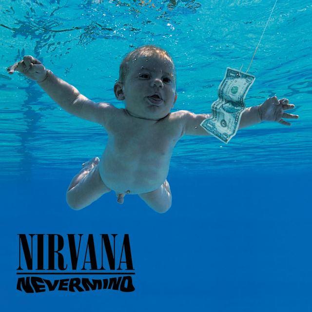 Umslag plötunnar Nevermind með Nirvana. Einni mikilvægustu rokkplötu allra tíma. ...