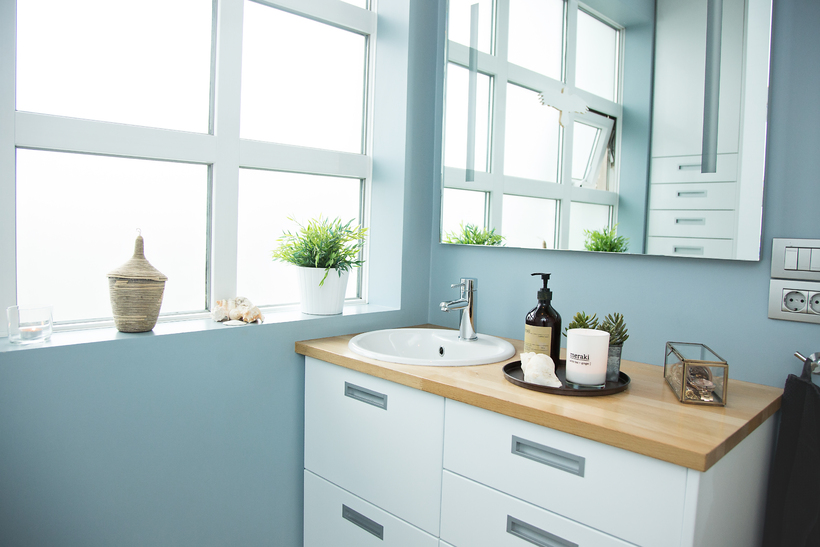 A powder blue bathroom.