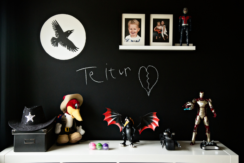 A blackboard wall in the children's room.