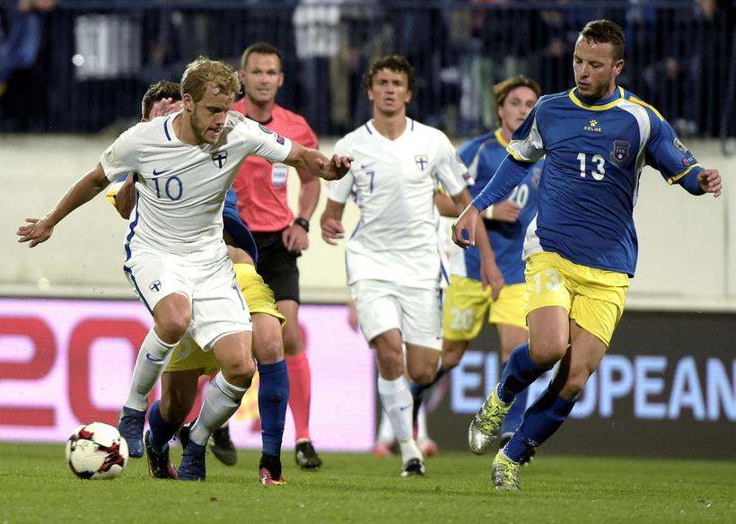 Finland, seen here playing against Kosovo, are Iceland's next opponents.