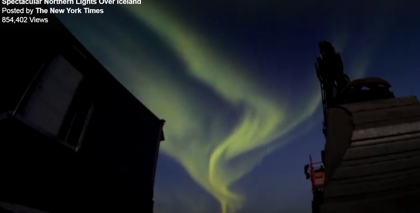 The Northern Lights over Reykjavik in The New York Times.