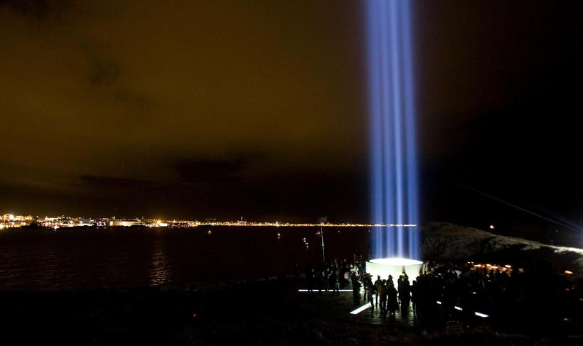 The Imagine Peace Tower in Viðey Island.