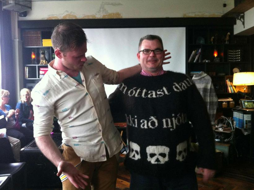Lars wearing a DEAD inspired sweater with knititng designer Stephen ...