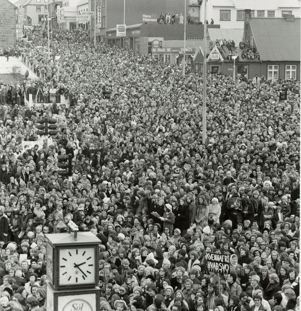 Frá fyrsta kvennafrídeginum árið 1975.