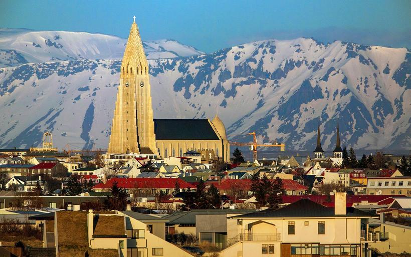Hallgrímskirkja church towering over Reykjavik.