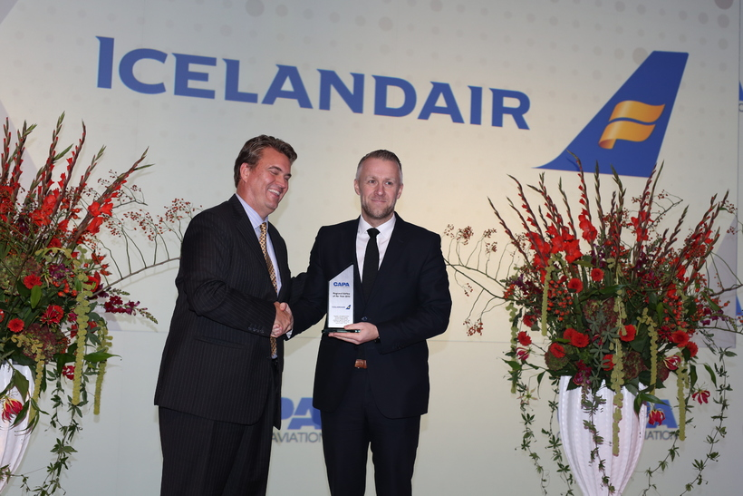 Icelandic CEO Birkir Hólm Guðnason receiving the award.