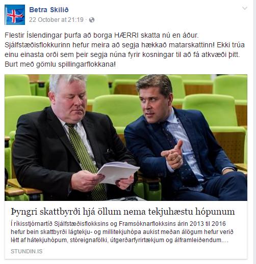 Dæmi um færslu af nafnlausu Facebook-síðunni Betra skilið sem deilir …