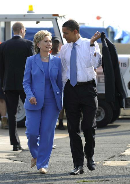 Hillary Clinton og Barack Obama í kosningabaráttunni fyrir forsetakosningarnar 2016.