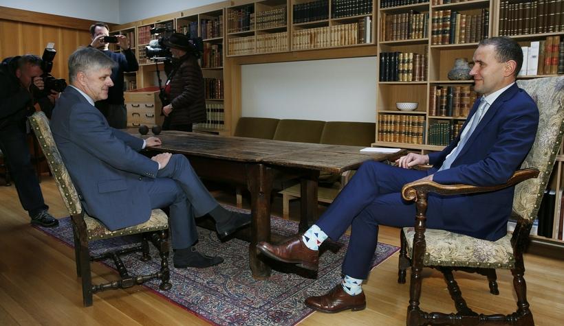 Benedikt Jóhannesson (left) and Guðni Th. Jóhannesson, President of Iceland ...