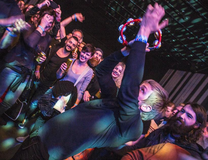 Fufanu crowd surfing at Harpa.
