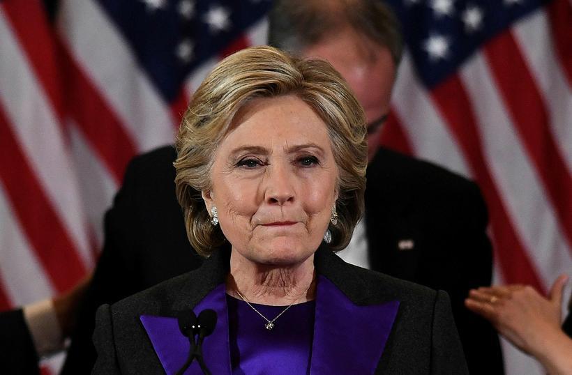 Hillary Clinton við ávarp sitt í dag.