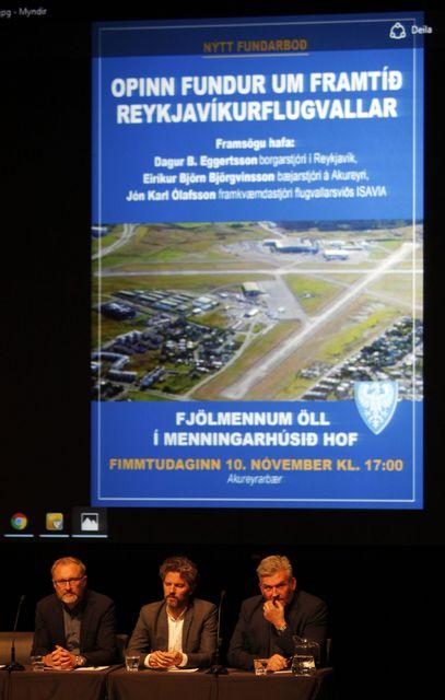 Frummælendur á fundinum um Reykjavíkurflugvöll;frá vinstri, Eiríkur Björn Björgvinsson, Dagur ...