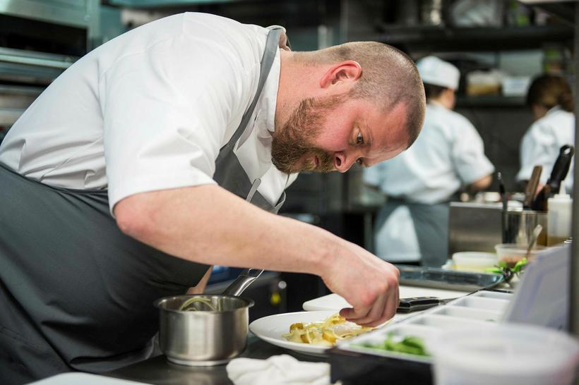 Gíslason at work at Agern, a new restaurant in New ...