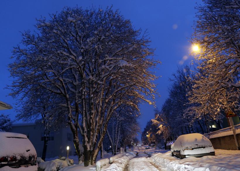 Lots of snow in Akureyri this morning.