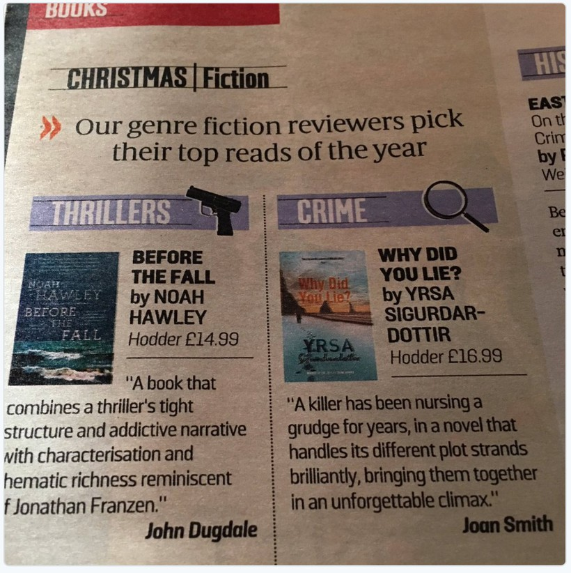 Why did you lie? named crime novel of the year by the Sunday Times