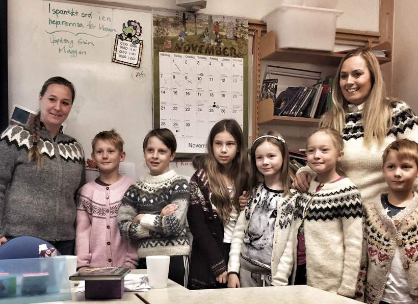 Swedish children in Icelandic jumpers.