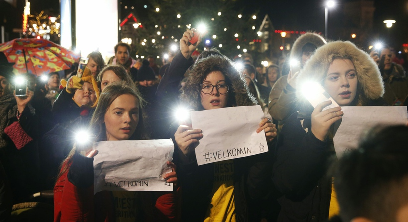 People arrived with torches at Lækjartorg yesterday afternoon in a …