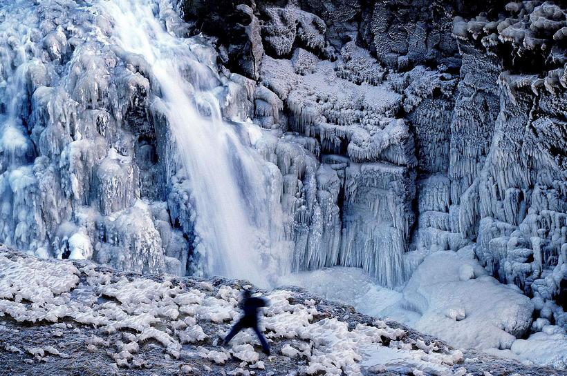 Conditions at Gullfoss waterfall are often precarious, especially if one ...