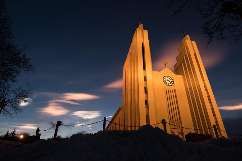 Clouds above Akureyri church.