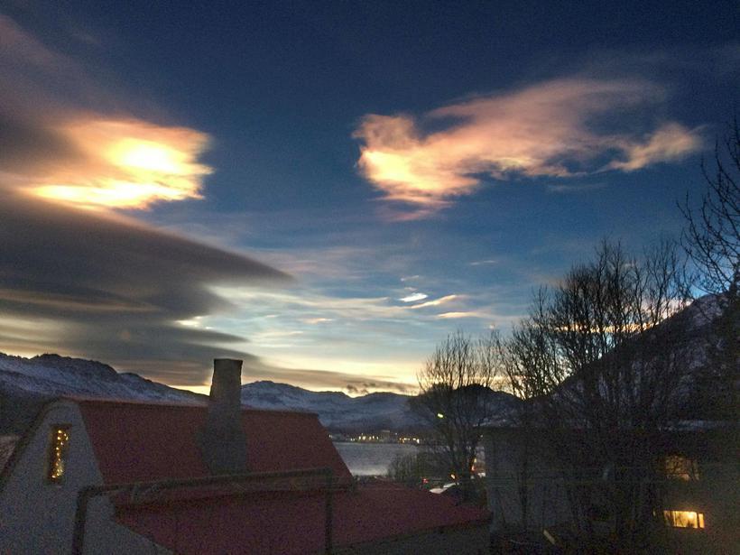 The sky above Norðfjörður in East Iceland
