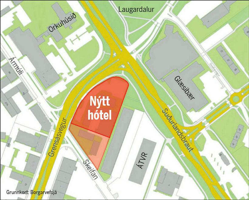 This map in Icelandic, shows the new hotel marked in ...