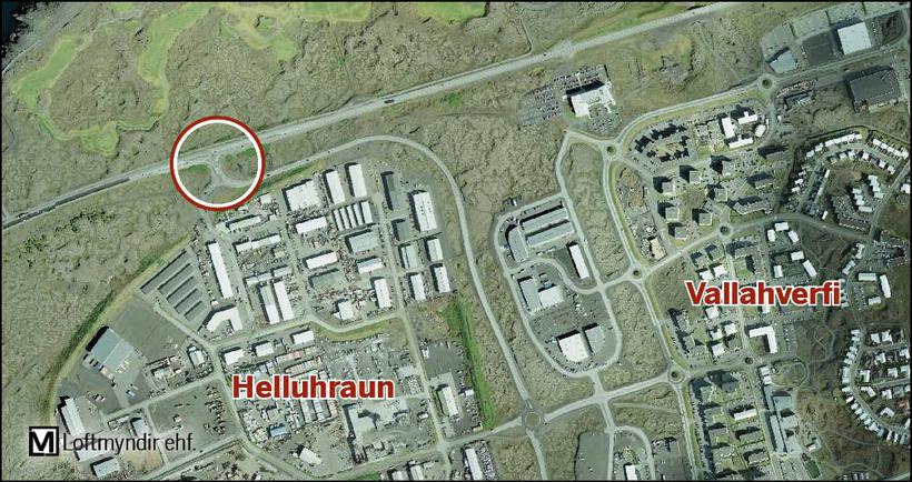 Gatnamót Reykjanesbrautar og Krýsuvíkurvegar.