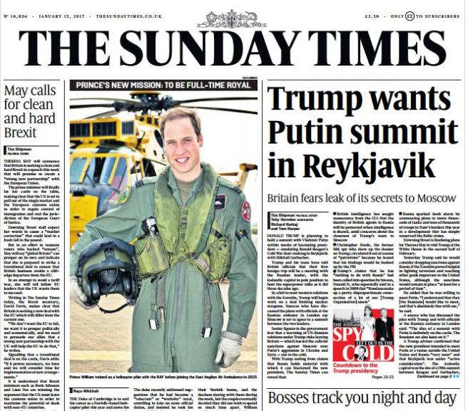 Forsíða Sunday Times sem kemur út núna á morgun.