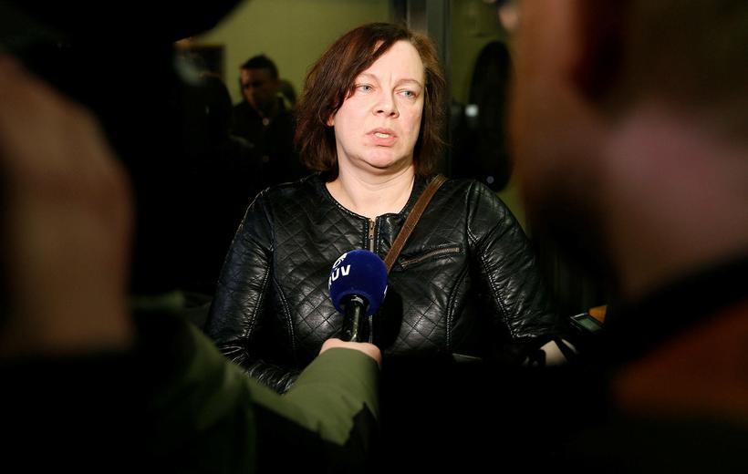 Birna Brjánsdóttir's mother at the press conference.