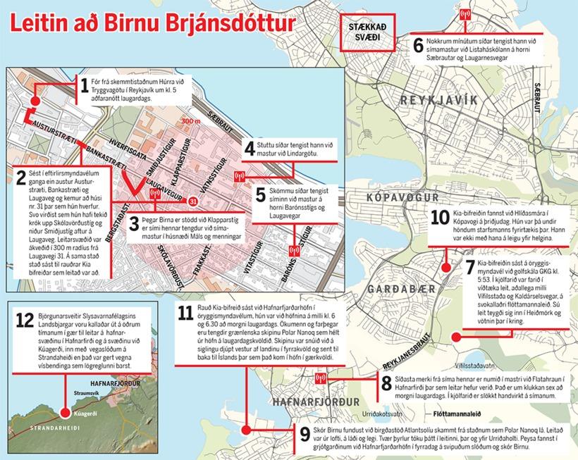 Leitin að Birnu var mjög umfangsmikil, en áður en hún ...