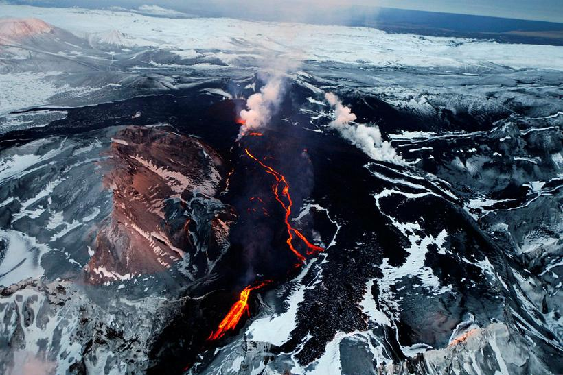 The volcanic eruption at Fimmvörðuháls