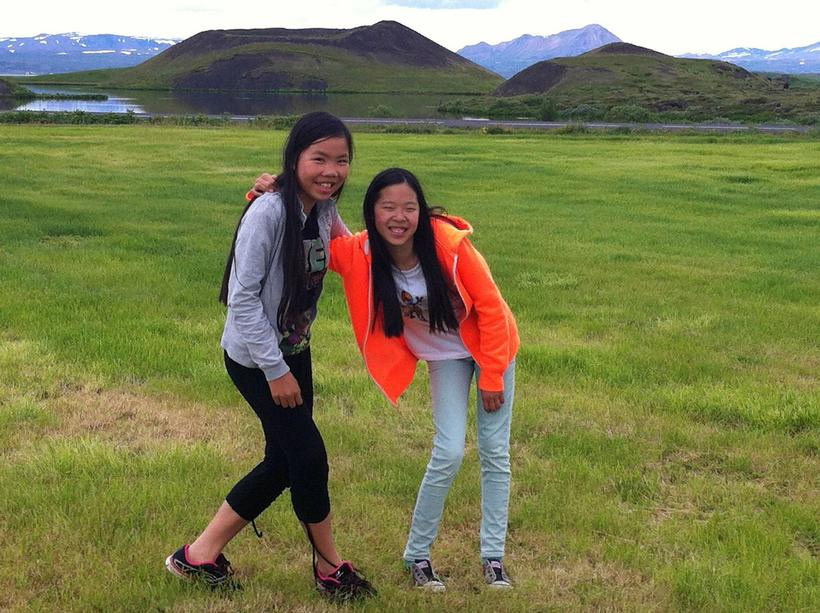 The two friends in a field by Lake Mývatn in …
