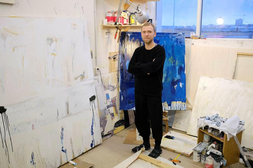 Steingrímur Gauti in front of some of his works. His ...