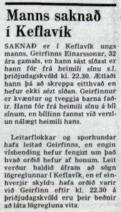 Frétt um hvarf Geirfinns var birt á bls. 2 í ...