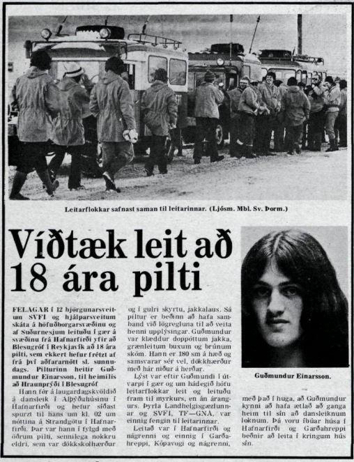 Frétt um leit að Guðmundi Einarssyni var birt í Morgunblaðinu ...