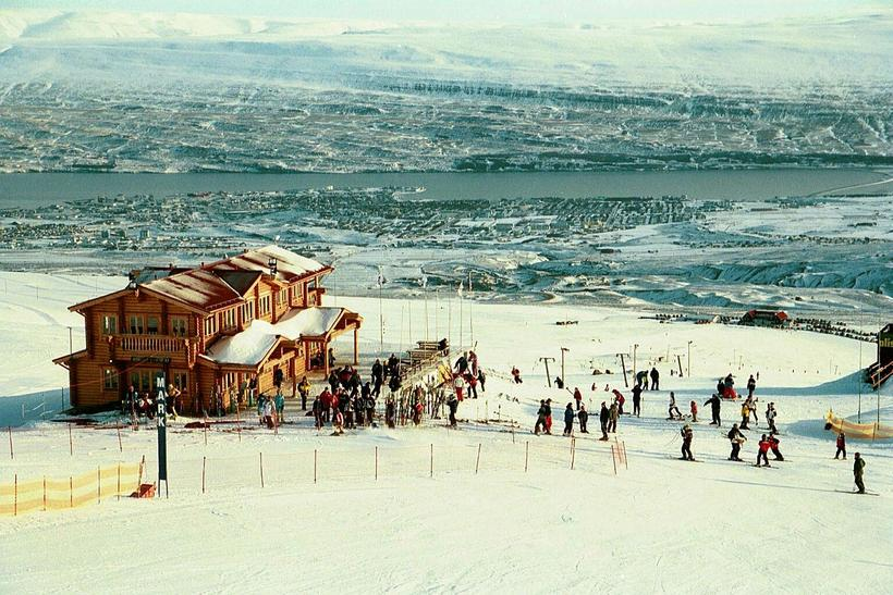 There's a great view over Akureyri at Hlíðarfjall ski slopes.